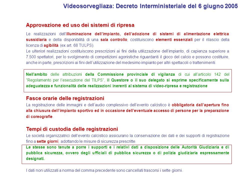 Videosorvegliaza: Decreto Interministeriale del 6 giugno 2005