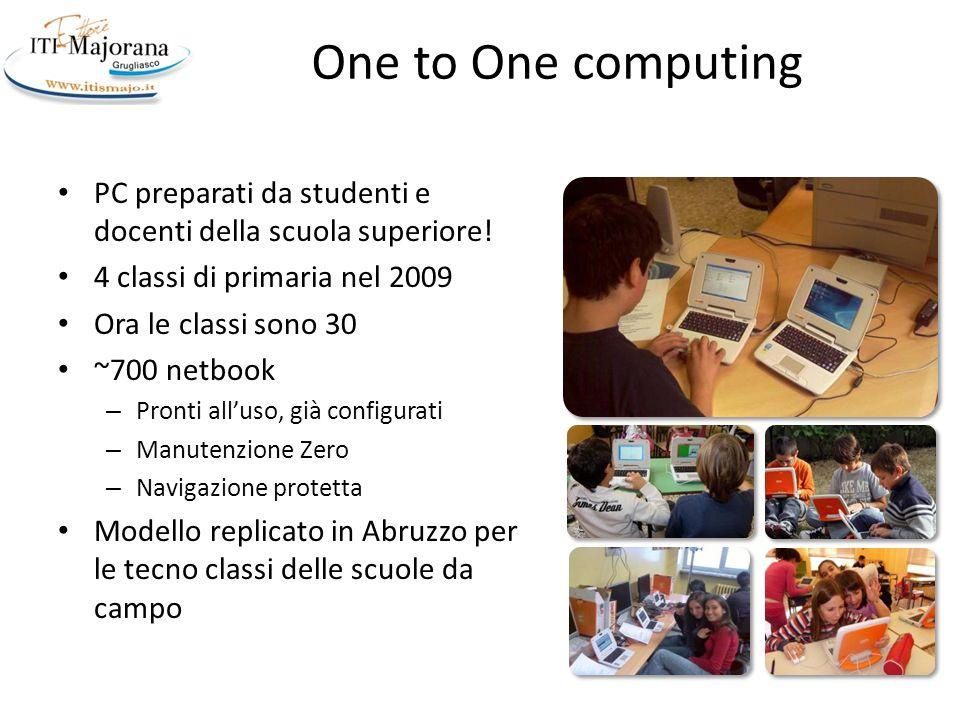 One to One computing PC preparati da studenti e docenti della scuola superiore! 4 classi di primaria nel 2009.