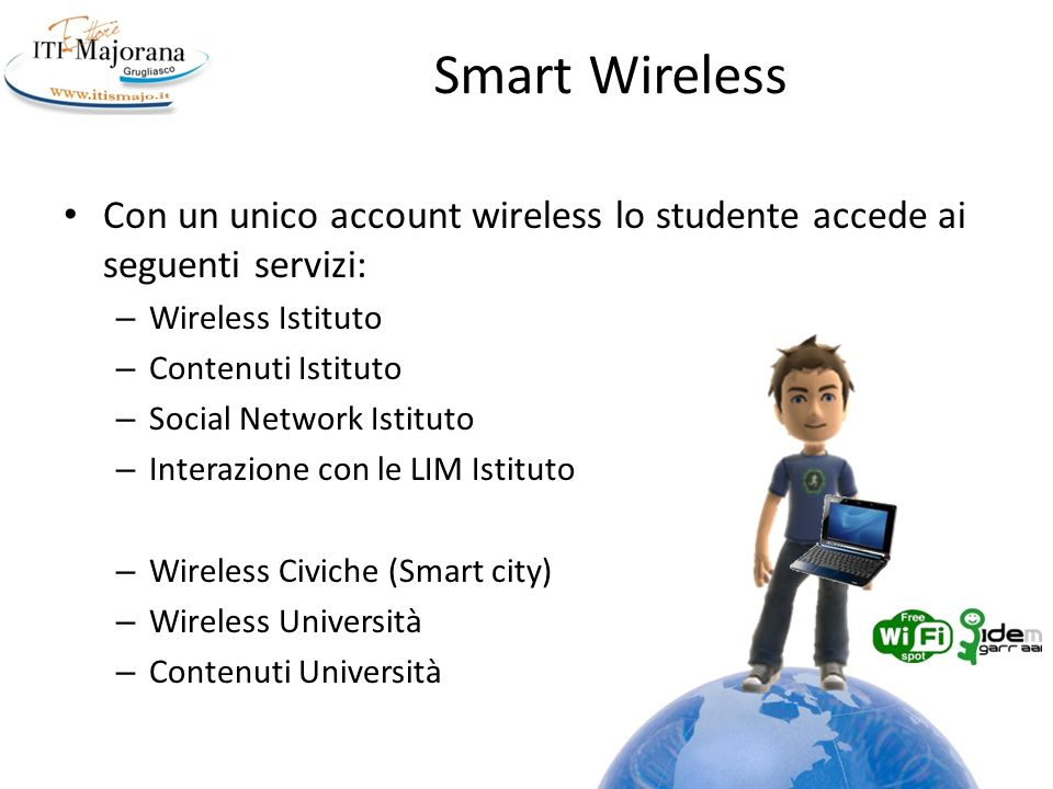 Smart Wireless Con un unico account wireless lo studente accede ai seguenti servizi: Wireless Istituto.