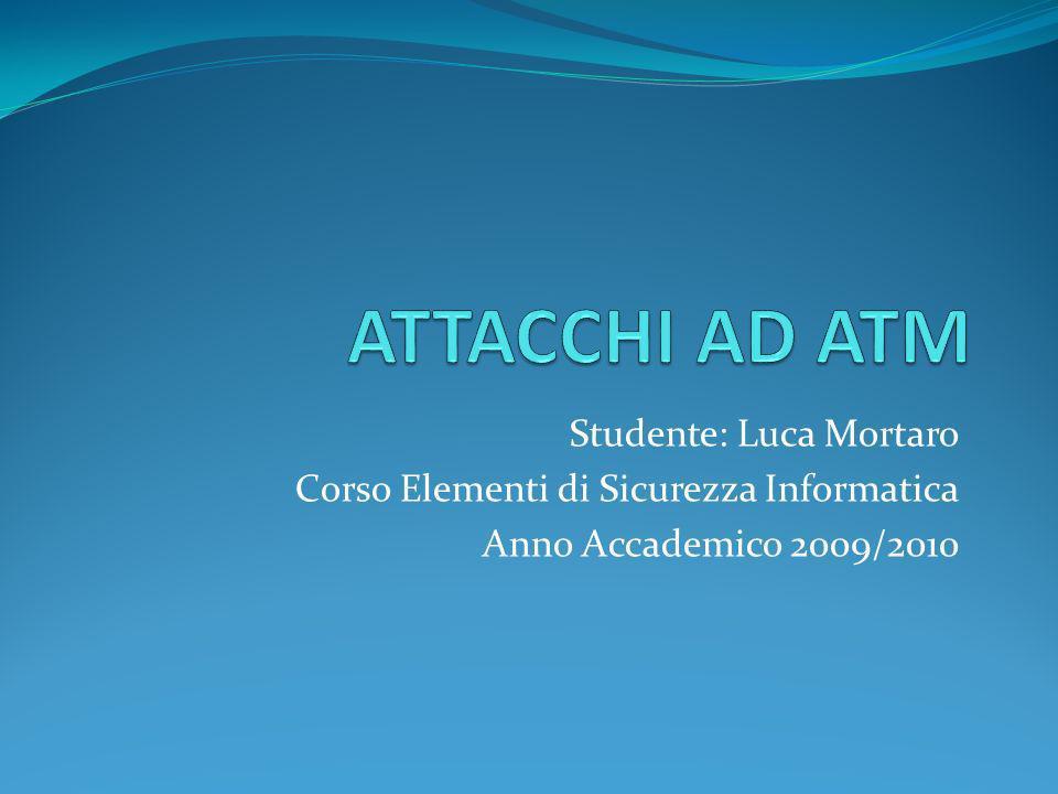 ATTACCHI AD ATM Studente: Luca Mortaro