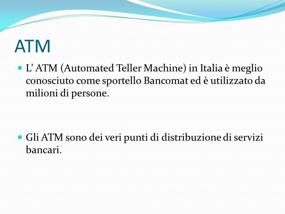 ATM L' ATM (Automated Teller Machine) in Italia è meglio conosciuto come sportello Bancomat ed è utilizzato da milioni di persone.