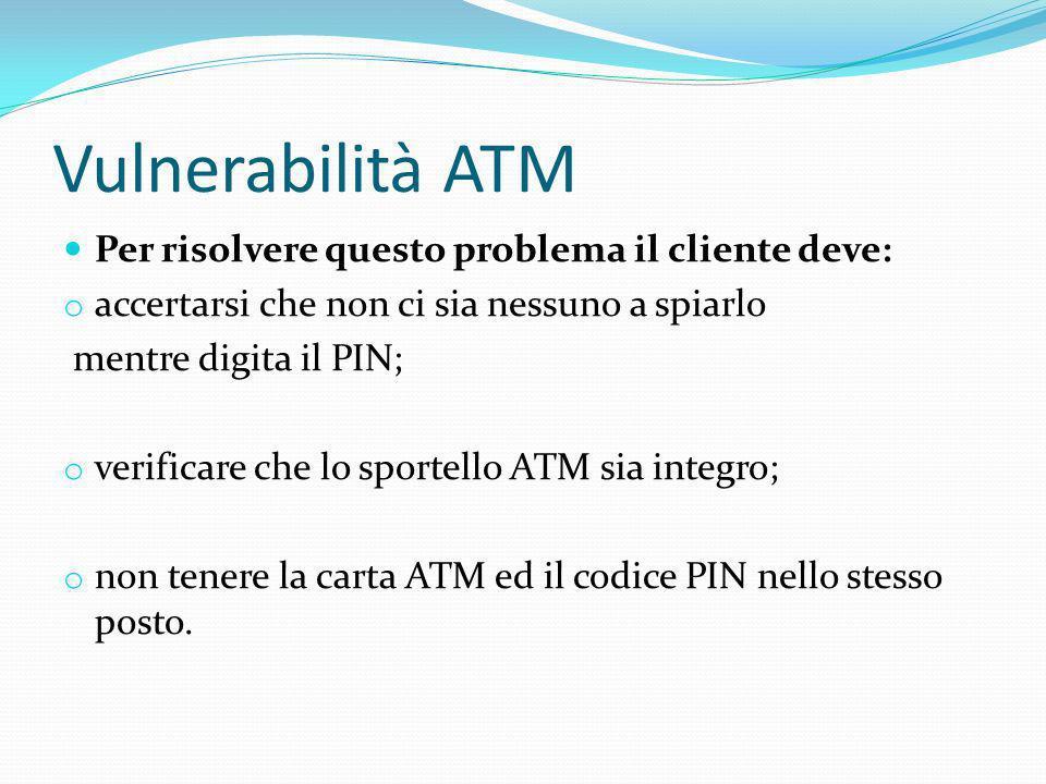 Vulnerabilità ATM Per risolvere questo problema il cliente deve: