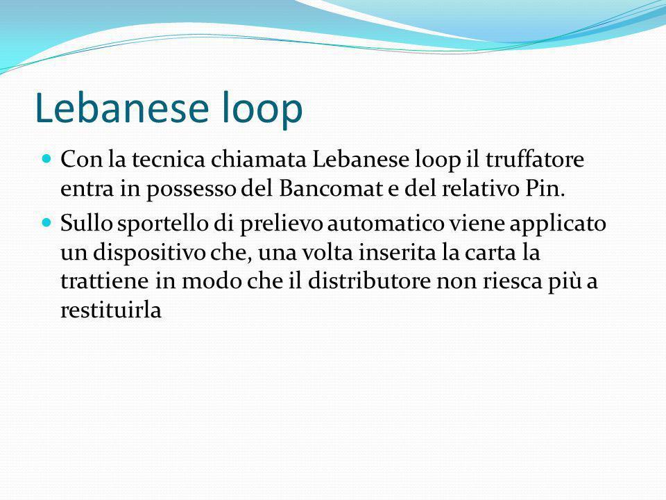 Lebanese loop Con la tecnica chiamata Lebanese loop il truffatore entra in possesso del Bancomat e del relativo Pin.