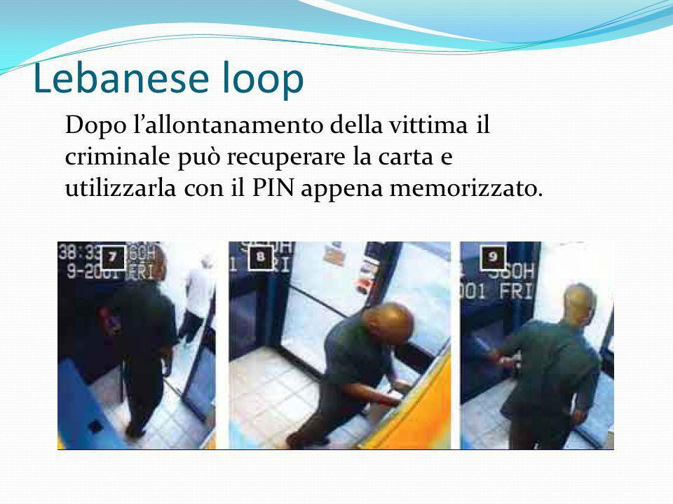 Lebanese loop Dopo l'allontanamento della vittima il criminale può recuperare la carta e.
