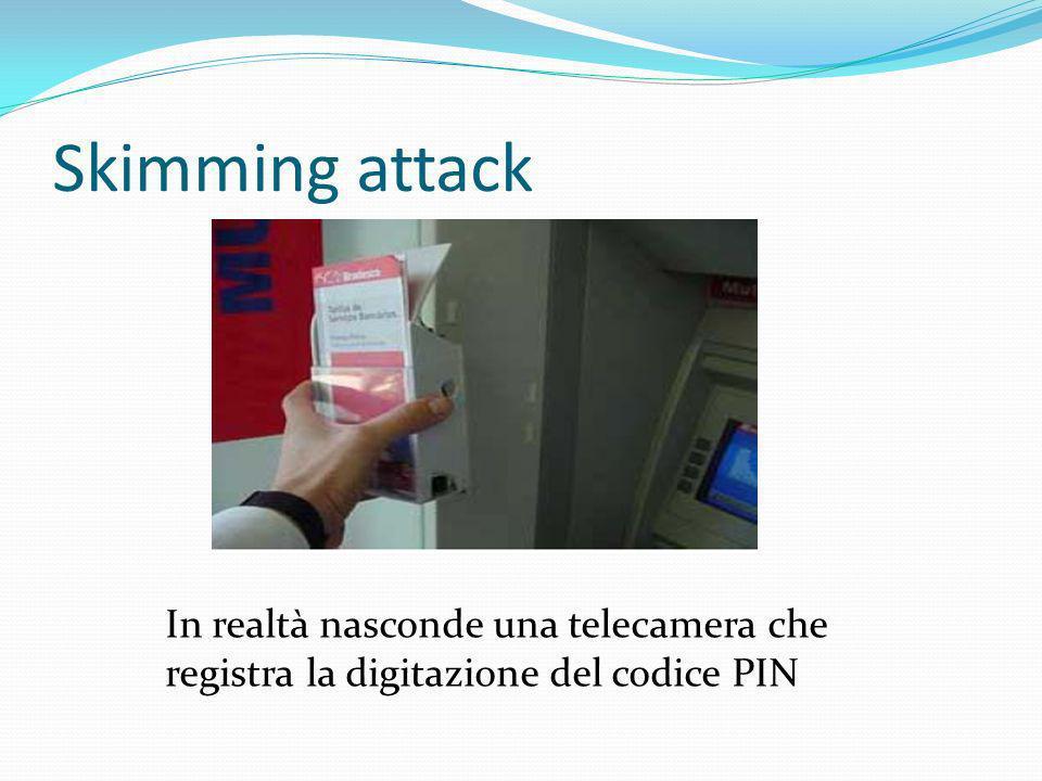 Skimming attack In realtà nasconde una telecamera che registra la digitazione del codice PIN