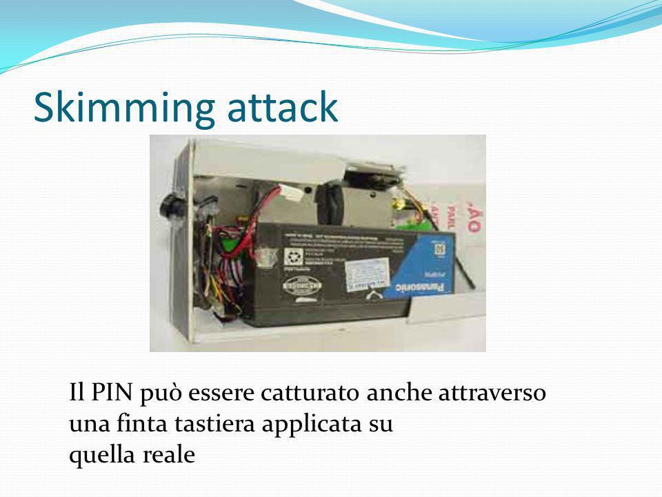 Skimming attack Il PIN può essere catturato anche attraverso una finta tastiera applicata su.