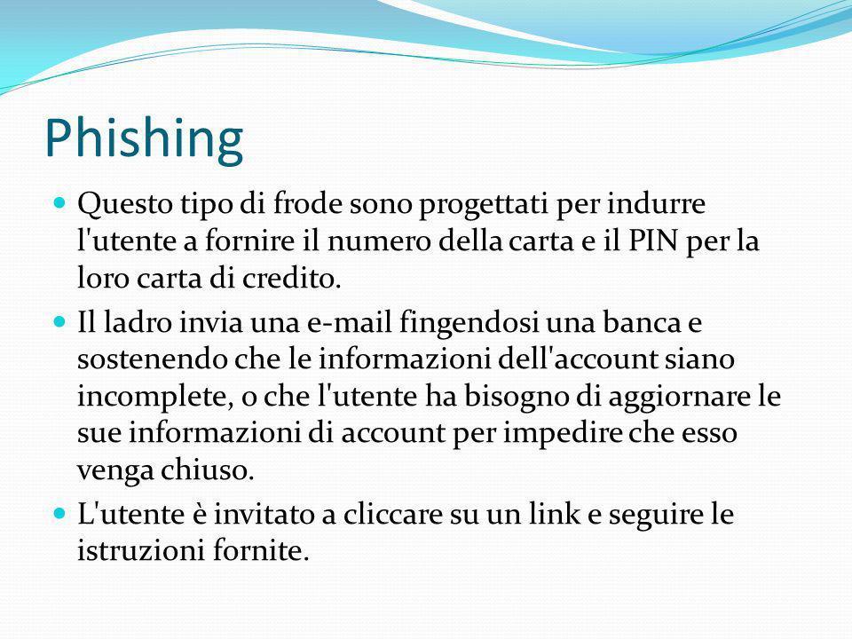 Phishing Questo tipo di frode sono progettati per indurre l utente a fornire il numero della carta e il PIN per la loro carta di credito.