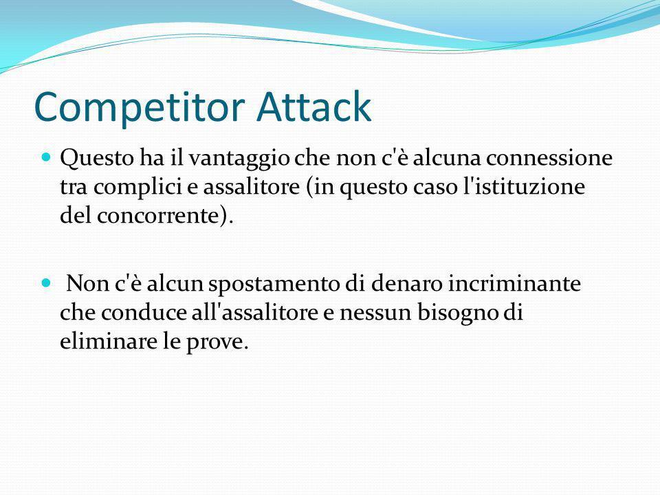Competitor Attack Questo ha il vantaggio che non c è alcuna connessione tra complici e assalitore (in questo caso l istituzione del concorrente).