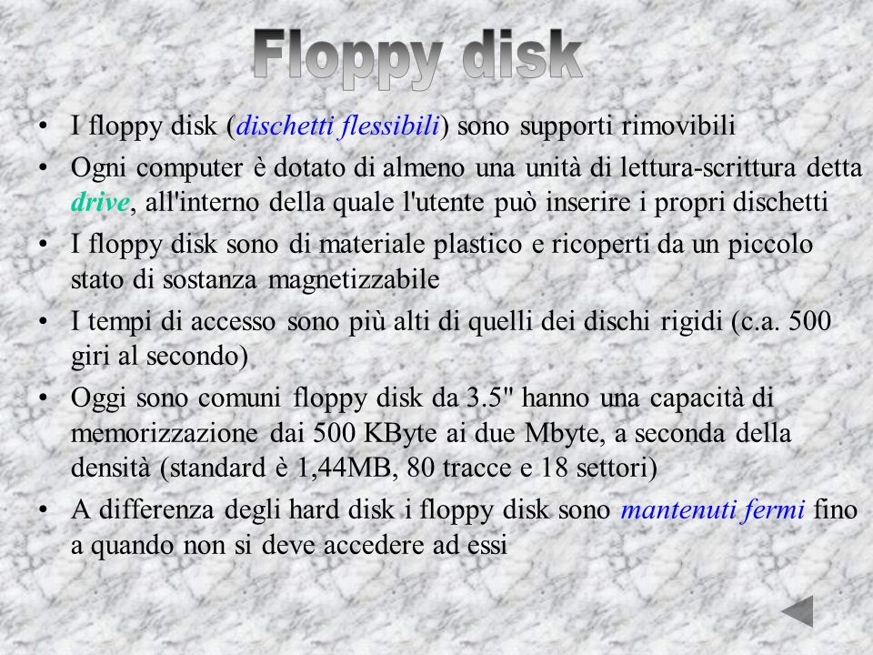 Floppy disk I floppy disk (dischetti flessibili) sono supporti rimovibili.
