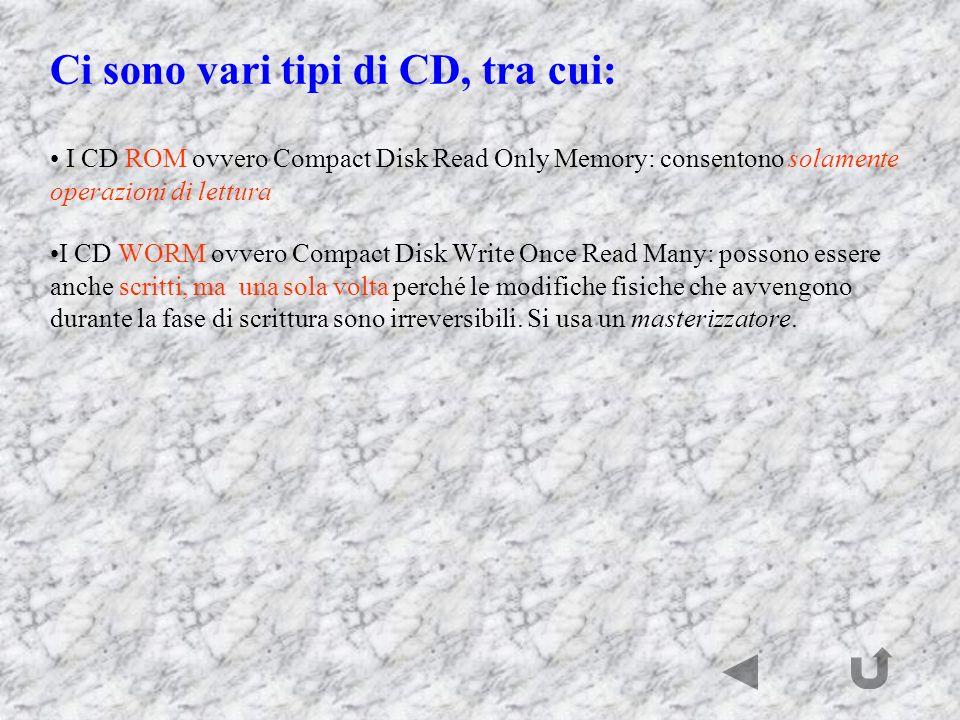 Ci sono vari tipi di CD, tra cui: