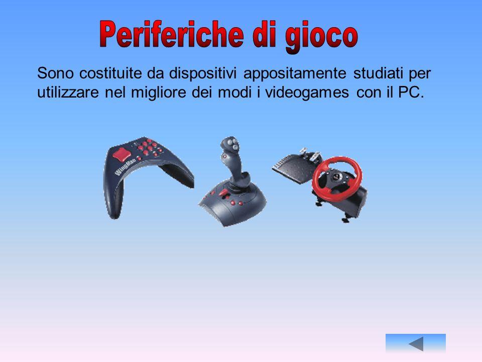 Periferiche di gioco Sono costituite da dispositivi appositamente studiati per utilizzare nel migliore dei modi i videogames con il PC.