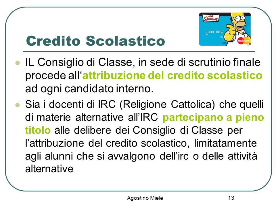 Credito Scolastico IL Consiglio di Classe, in sede di scrutinio finale procede all'attribuzione del credito scolastico ad ogni candidato interno.