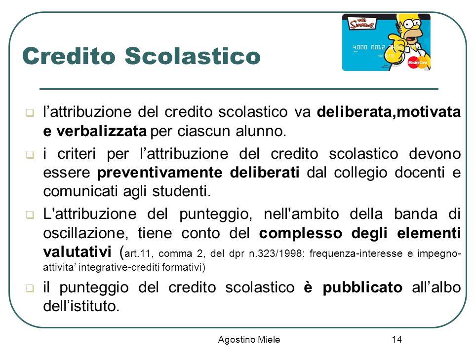 Credito Scolastico l'attribuzione del credito scolastico va deliberata,motivata e verbalizzata per ciascun alunno.