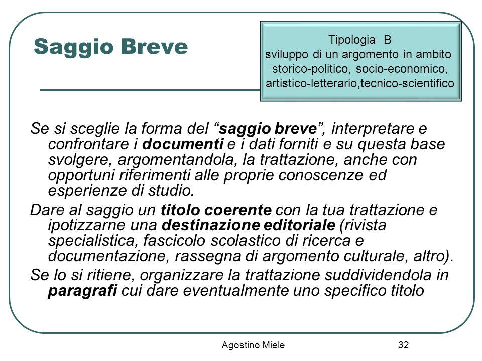 Saggio Breve Tipologia B. sviluppo di un argomento in ambito storico-politico, socio-economico, artistico-letterario,tecnico-scientifico.