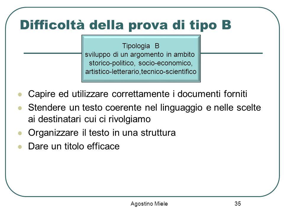 Difficoltà della prova di tipo B
