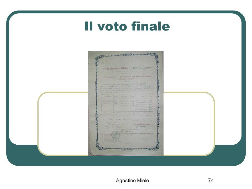 Il voto finale Agostino Miele