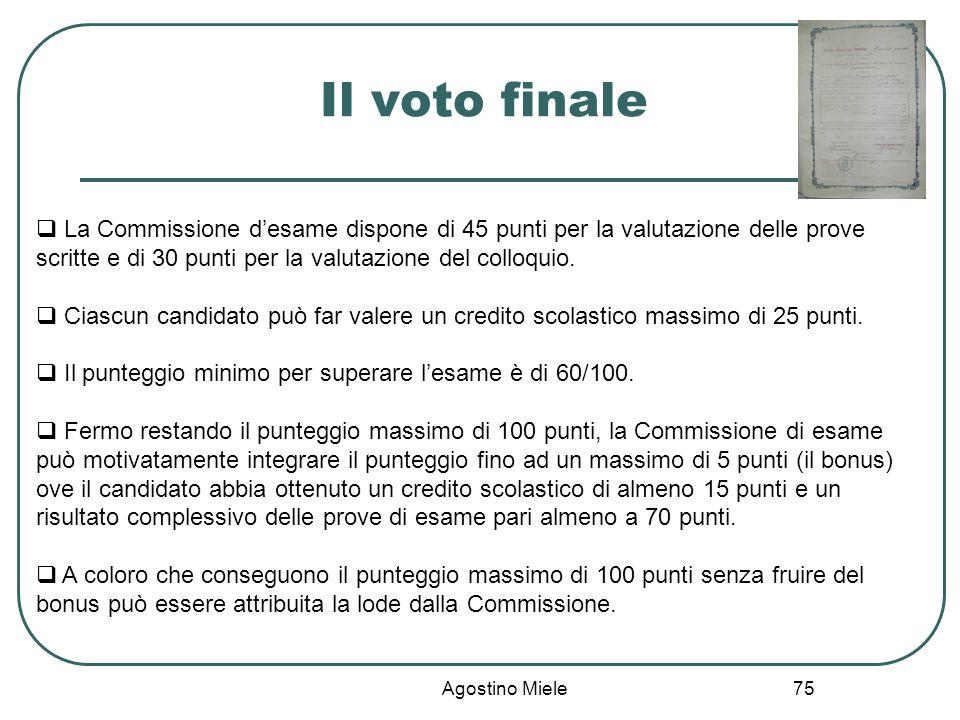 Il voto finale La Commissione d'esame dispone di 45 punti per la valutazione delle prove scritte e di 30 punti per la valutazione del colloquio.