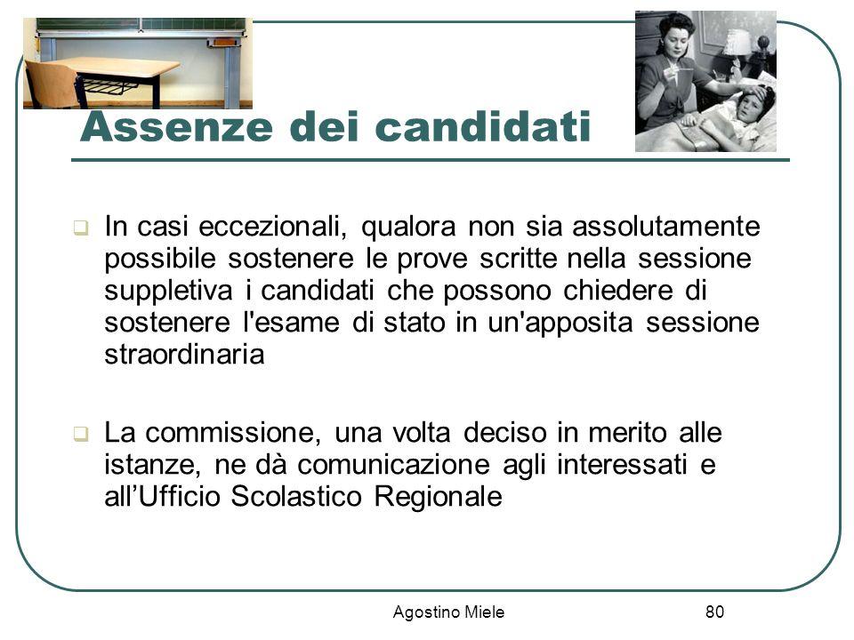 Assenze dei candidati
