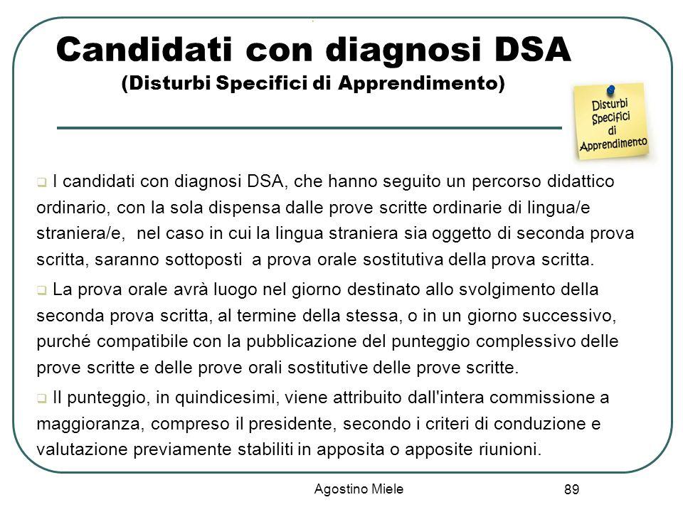 Candidati con diagnosi DSA