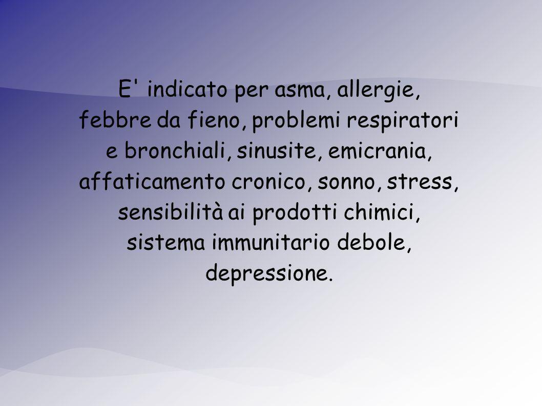 E indicato per asma, allergie, febbre da fieno, problemi respiratori