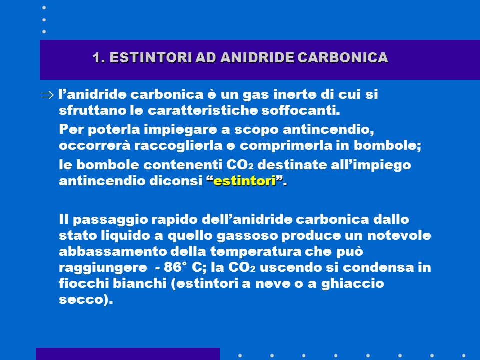 1. ESTINTORI AD ANIDRIDE CARBONICA