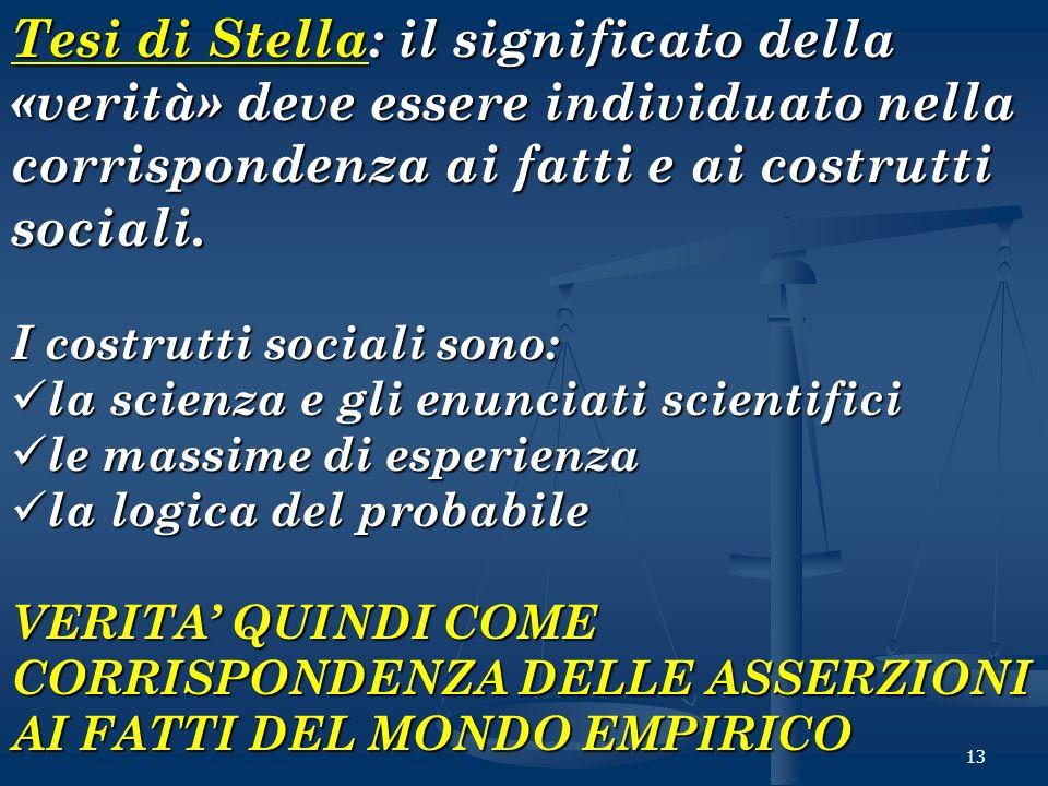 Tesi di Stella: il significato della «verità» deve essere individuato nella corrispondenza ai fatti e ai costrutti sociali.