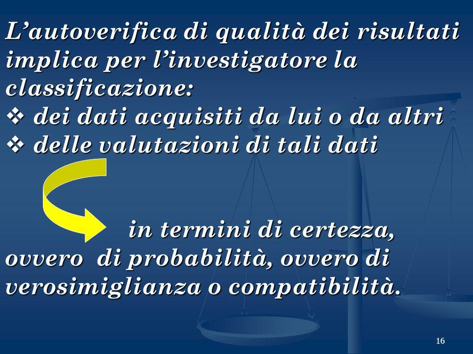 L'autoverifica di qualità dei risultati implica per l'investigatore la classificazione: