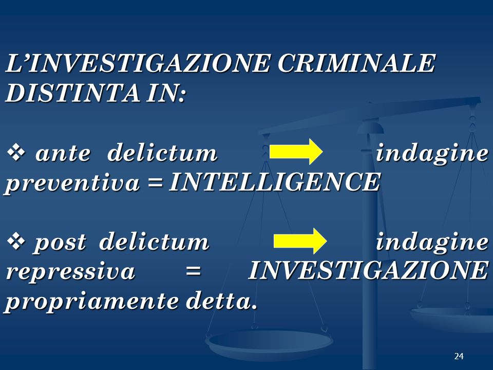 L'INVESTIGAZIONE CRIMINALE DISTINTA IN: