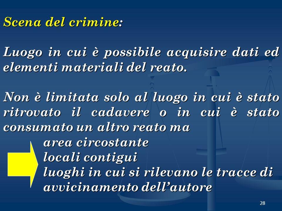 Scena del crimine: Luogo in cui è possibile acquisire dati ed elementi materiali del reato.