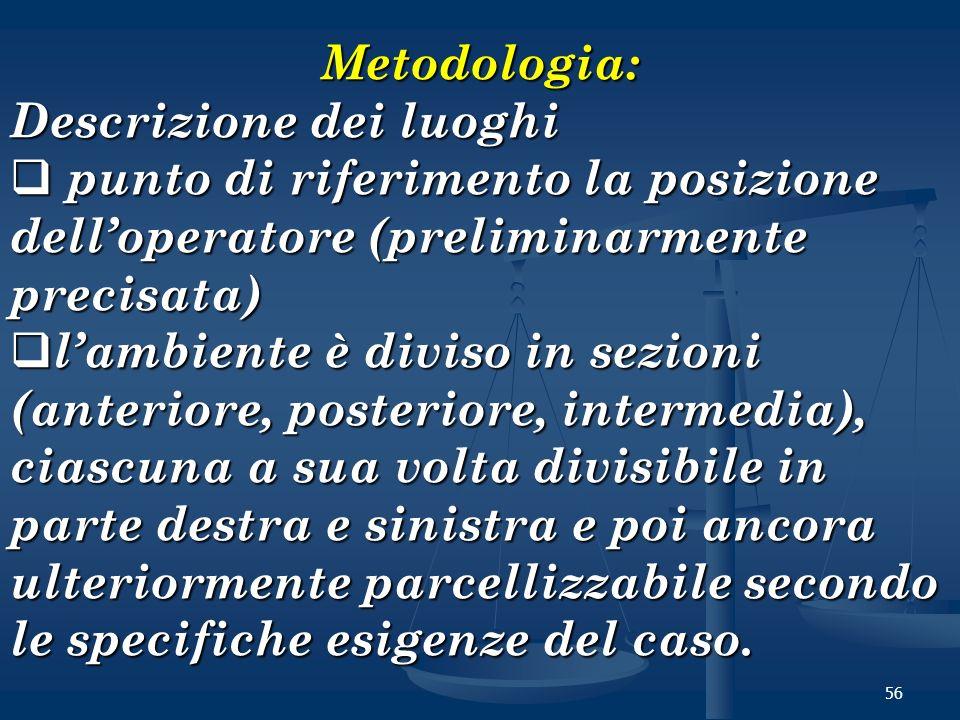 Metodologia: Descrizione dei luoghi. punto di riferimento la posizione dell'operatore (preliminarmente precisata)