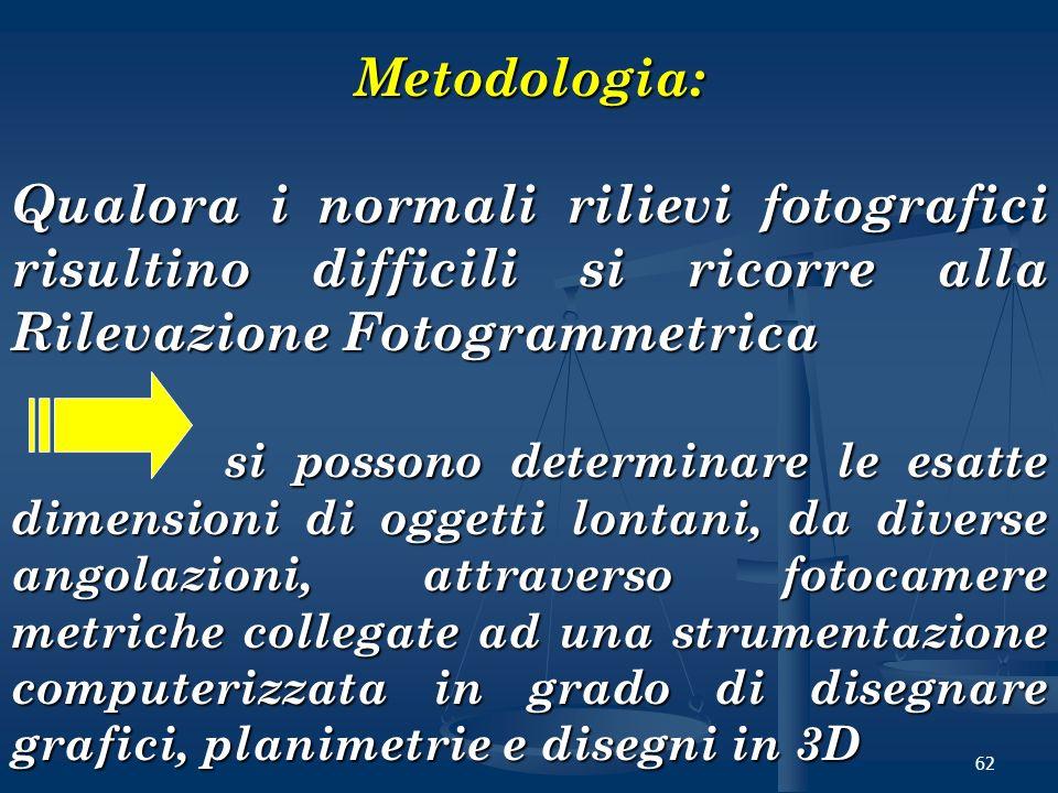 Metodologia: Qualora i normali rilievi fotografici risultino difficili si ricorre alla Rilevazione Fotogrammetrica.