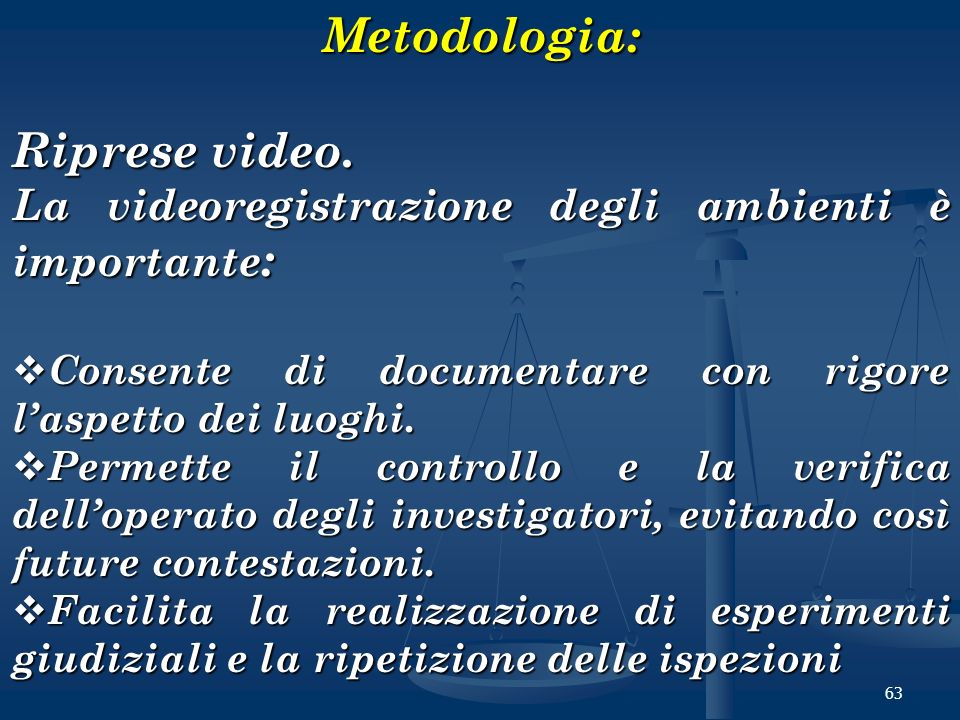 Metodologia: Riprese video.