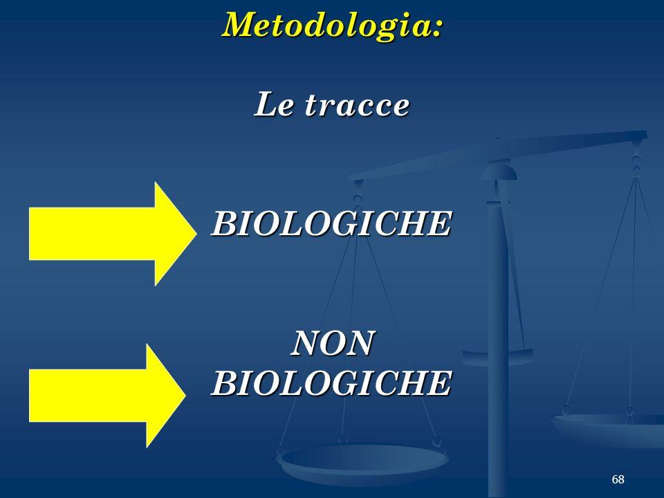 Metodologia: Le tracce BIOLOGICHE NON