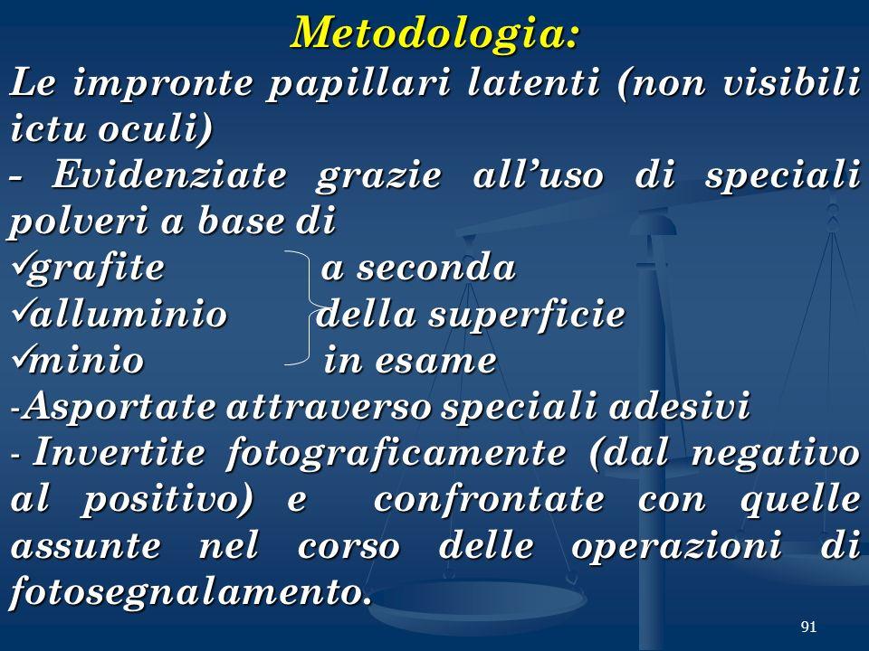 Metodologia: Le impronte papillari latenti (non visibili ictu oculi)