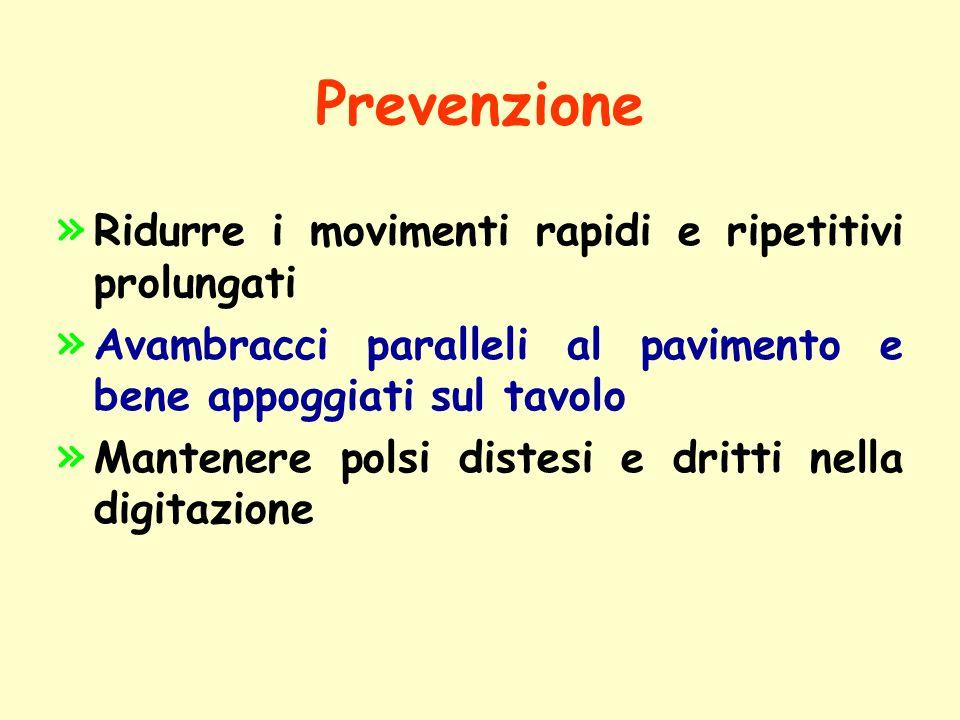 Prevenzione Ridurre i movimenti rapidi e ripetitivi prolungati