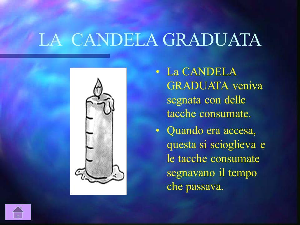 LA CANDELA GRADUATALa CANDELA GRADUATA veniva segnata con delle tacche consumate.