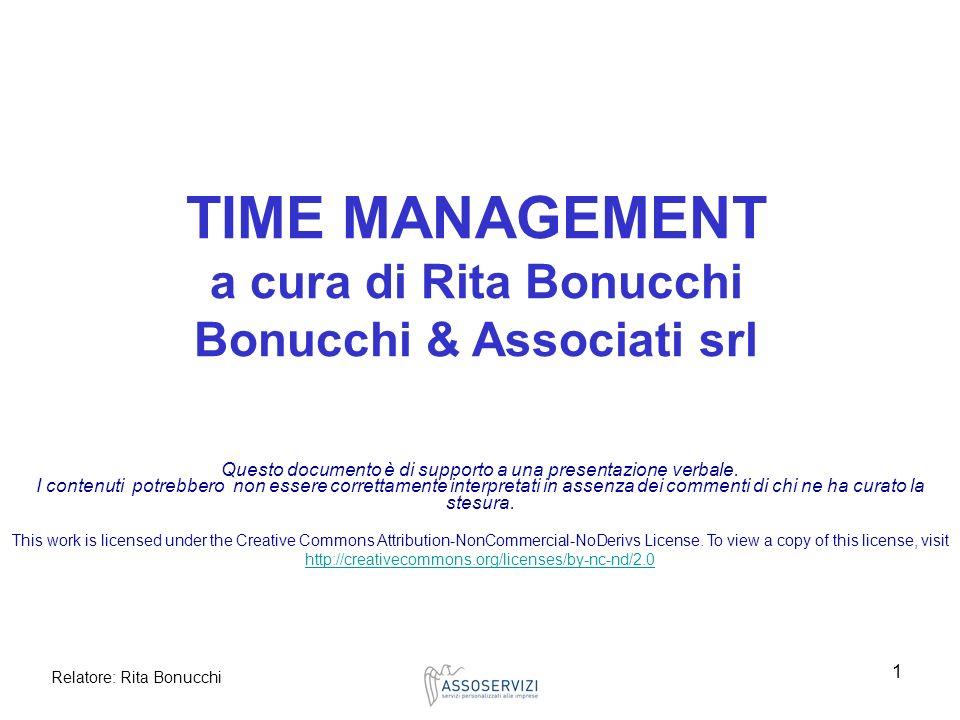 TIME MANAGEMENT a cura di Rita Bonucchi Bonucchi & Associati srl