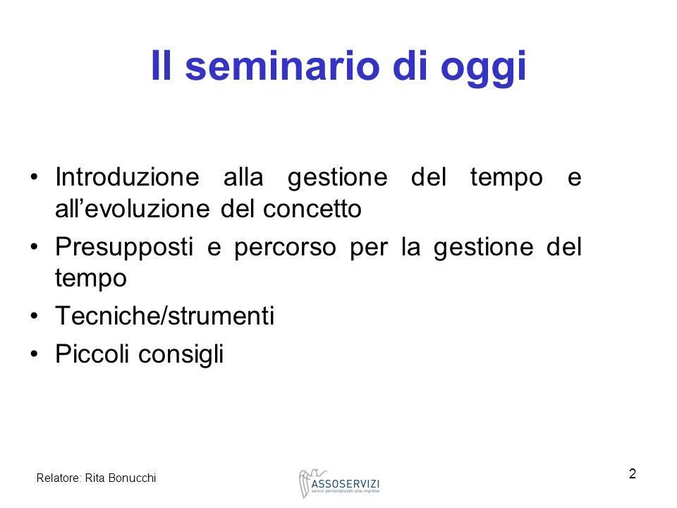 Il seminario di oggi Introduzione alla gestione del tempo e all'evoluzione del concetto. Presupposti e percorso per la gestione del tempo.