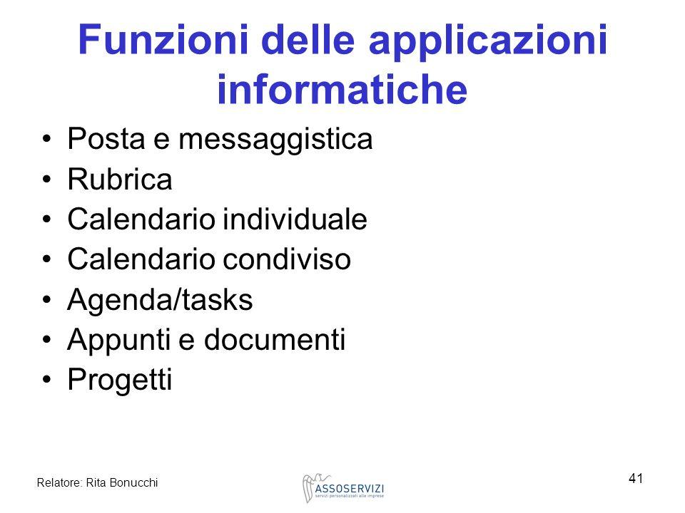 Funzioni delle applicazioni informatiche