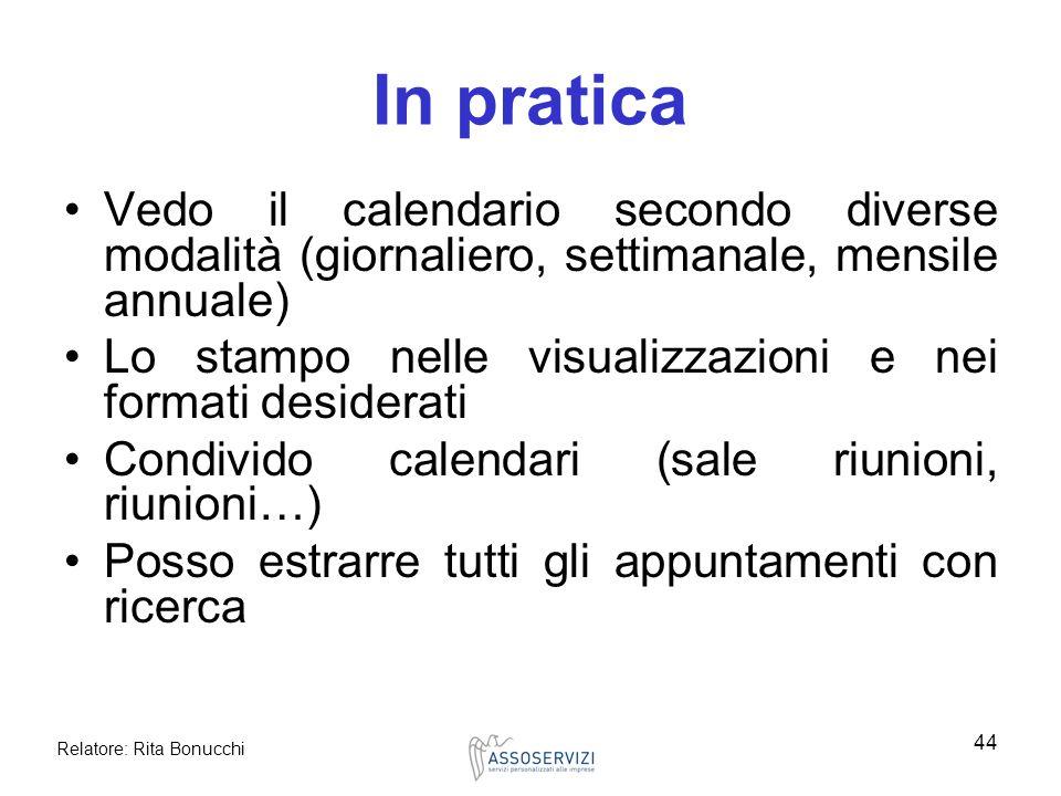 In pratica Vedo il calendario secondo diverse modalità (giornaliero, settimanale, mensile annuale)