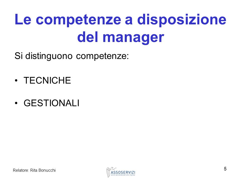 Le competenze a disposizione del manager