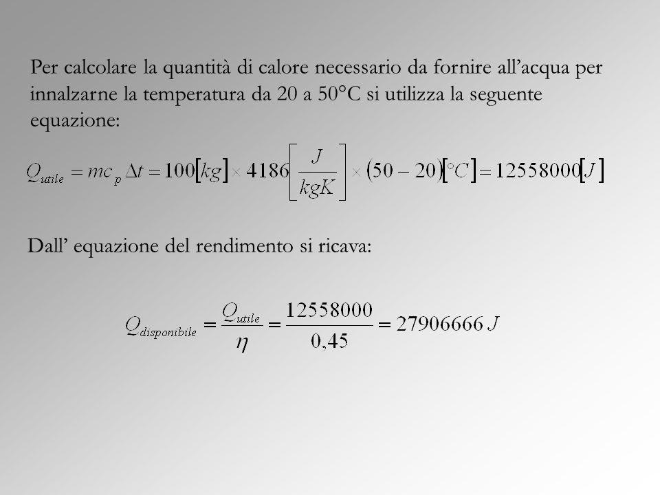 Per calcolare la quantità di calore necessario da fornire all'acqua per innalzarne la temperatura da 20 a 50°C si utilizza la seguente equazione: