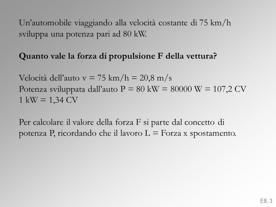 Quanto vale la forza di propulsione F della vettura