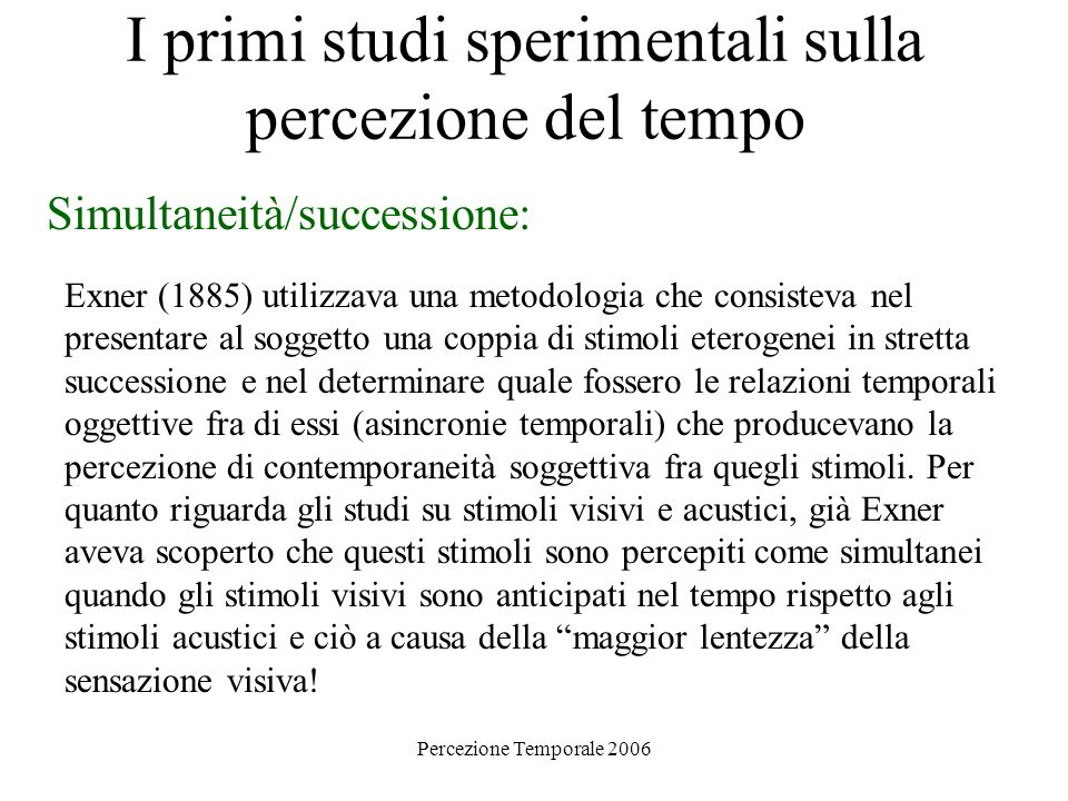 I primi studi sperimentali sulla percezione del tempo