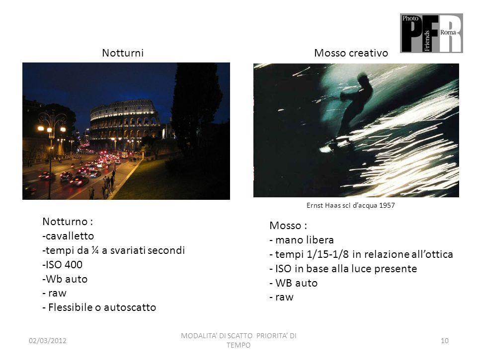 MODALITA' DI SCATTO PRIORITA' DI TEMPO