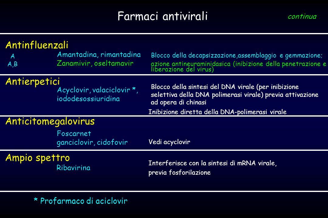 Farmaci antivirali Antinfluenzali Antierpetici Anticitomegalovirus