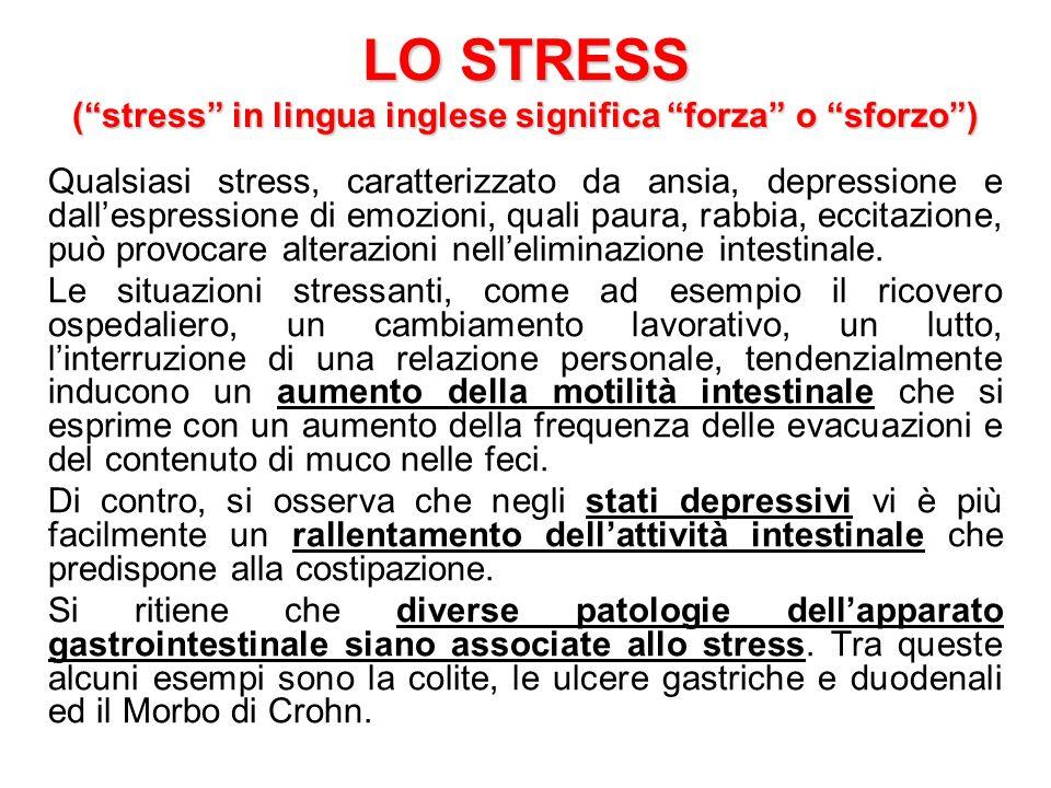 LO STRESS ( stress in lingua inglese significa forza o sforzo )