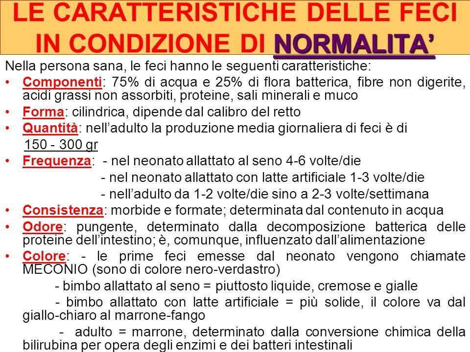 LE CARATTERISTICHE DELLE FECI IN CONDIZIONE DI NORMALITA'