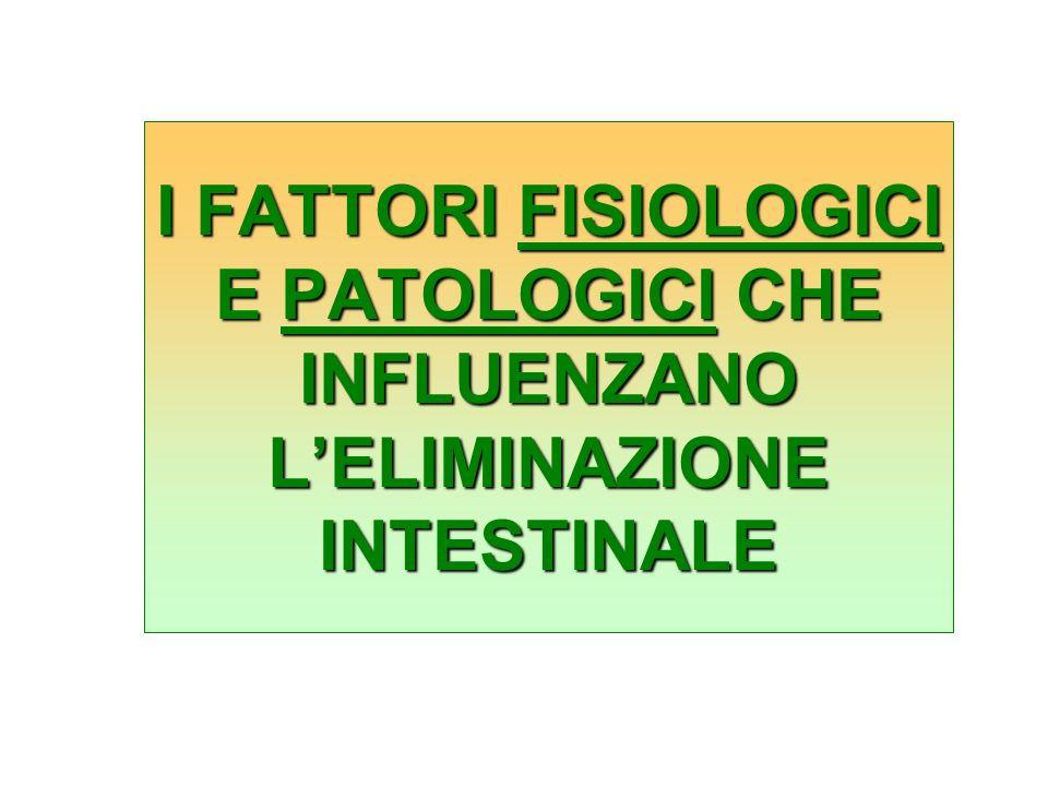 I FATTORI FISIOLOGICI E PATOLOGICI CHE INFLUENZANO L'ELIMINAZIONE INTESTINALE