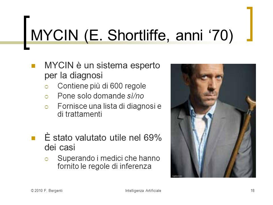 MYCIN (E. Shortliffe, anni '70)